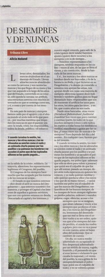 De siempres y nuncas (publicado en LaOpinión)